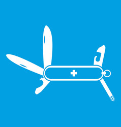 Swiss multipurpose knife icon white vector