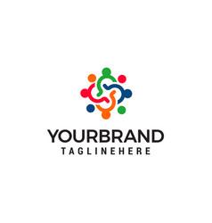 teamwork logo design concept template vector image