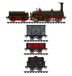 The historical freight steam train vector