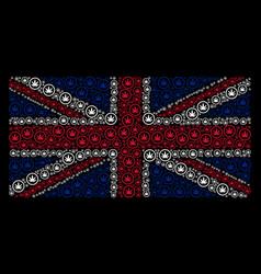 United kingdom flag mosaic of cannabis icons vector