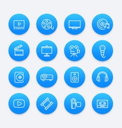video audio multimedia icons vector image