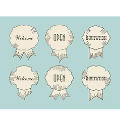 Vintage retro tags with Open Welcom Invitation vector image