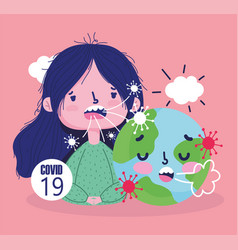 virus covid 19 pandemic girl and world sick vector image
