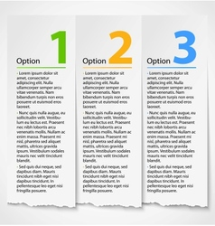White torn paper progress option label background vector