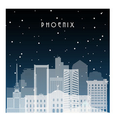 winter night in pheonix night city in flat style vector image