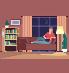 Woman reading in couch young girl in vector