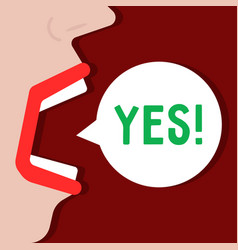 woman says yes word like acceptance vector image