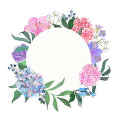 Wreath with a blooming pink and blue hydrangea vector