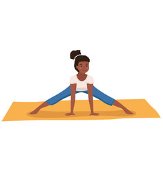 Young dark skinned girl doing stretching warm up vector