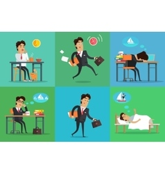Businessman Working Day Set vector image vector image