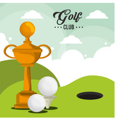 Golf club trophy balls and field hole vector