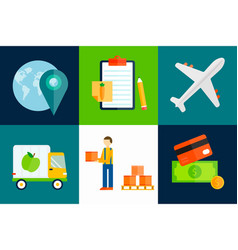 import export fruits transport shipping vector image