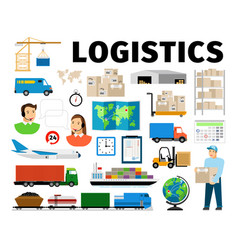 logistics elements isolated on white vector image vector image