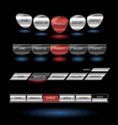metallic editable website buttons vector image vector image