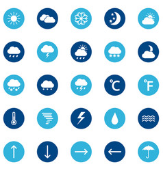 Set of weather icons on color background vector