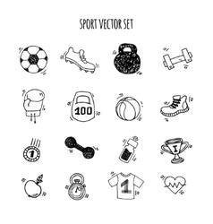 Sport hand drawn set white and black vector