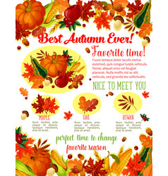 autumn lovely fall time wishes poster vector image vector image