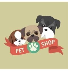 cute doggys pet shop symbol ribbon vector image