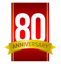 label for 80th anniversary celebration vector image vector image