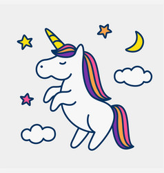 unicorn on stars clouds and moon background vector image