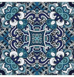 Abstract blue vintage damask paisley seamless vector image
