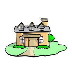 colorful flat drawing house with garden vector image