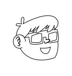 line nice boy face using 3d glasses vector image