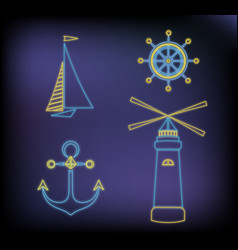 Set of marine neon icons ship lighthouse anchor vector