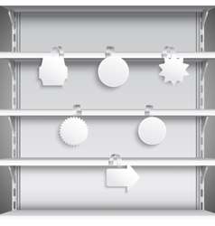 Supermarket shelves with wobblers vector image
