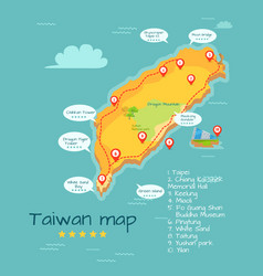 cartoon taiwan map with famous places vector image vector image