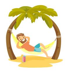 caucasian white man lying in hammock on the beach vector image