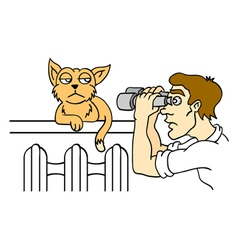 Human and cat vector image