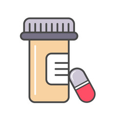medical tablet container linear icon vector image vector image