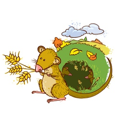 Mouse with ears of wheat vector
