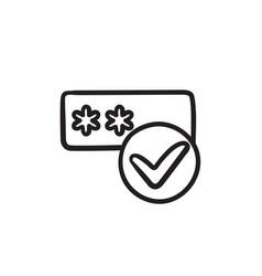 Password with check mark sketch icon vector