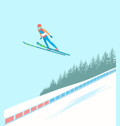 ski jumping competitions vector image vector image