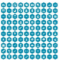 100 plane icons sapphirine violet vector