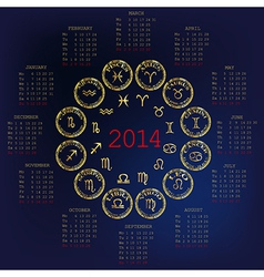 2014 Calendar with horoscope vector image