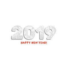 2019 silver laser cut ornate numbers vector image