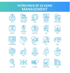 25 green and blue futuro management icon pack vector