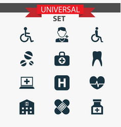 antibiotic icons set collection of rhythm drug vector image