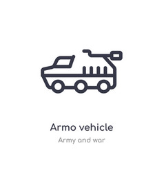 Armo vehicle outline icon isolated line from army vector