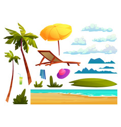 beach elements set isolated summer cartoon icons vector image