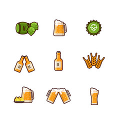 beer line icons isolated on white vector image