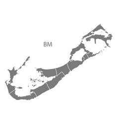 Bermuda with parishes map grey vector