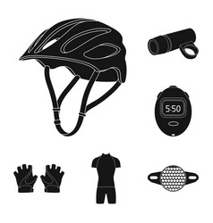 bicycle outfit black icons in set collection for vector image