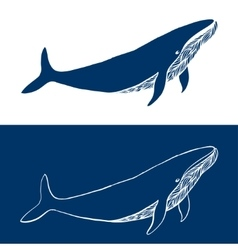Big whale hand drawn fish logo simple icon vector
