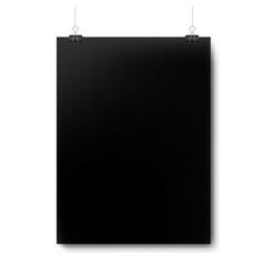 black mockup poster isolated white background vector image