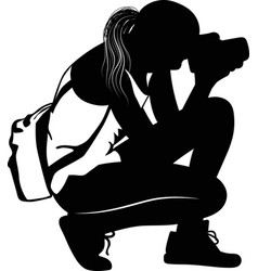 Black silhouette of a girl photographing sitting vector