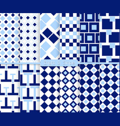 Bright and simple light and dark blue pattern set vector image